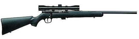 Savage Model MK II-FVXP Package Series Rimfire Bolt-Action Rifle .22 Long Rifle 21 Barrel 5 Rounds 4x32mm Riflescope Black Synthetic Stock Blued Steel Barrel